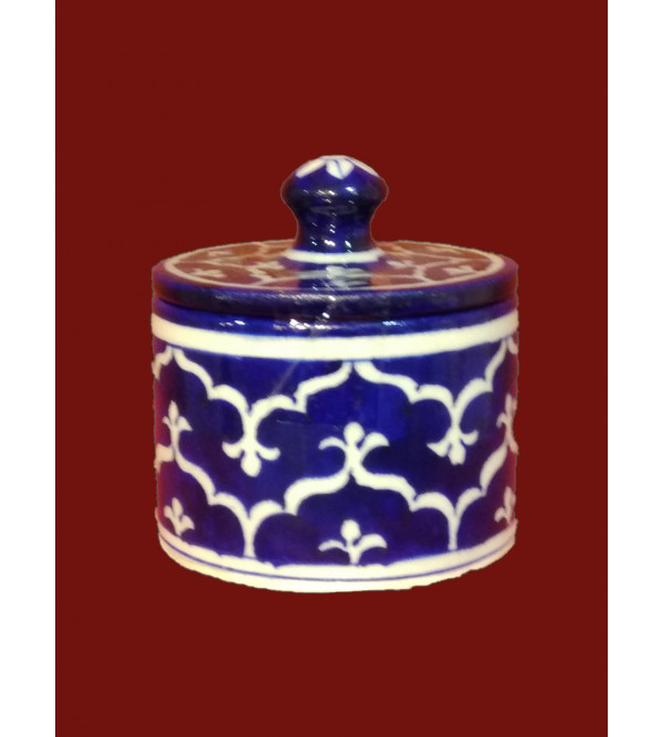 BLUE POTTERY JAR WITH LID 3  INCH