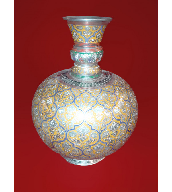 Flower Vase Brass Enameled  11x9 INCH
