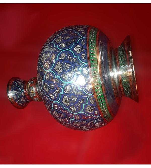 Handicraft Surai Flower Vase Brass Enameled  Black  10 Inch