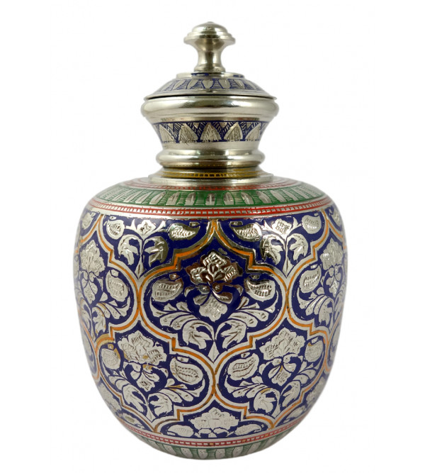 Handicraft Kalash Flower Vase Brass Enameled  Black 6.75 Inch