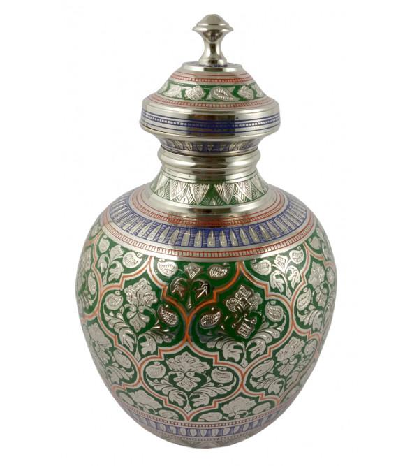 Handicraft Kalash Flower Vase Brass Enameled Black  8 Inch