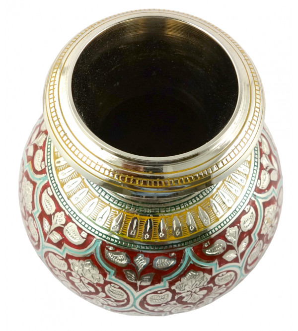 Handicraft Kalash Flower Vase Brass Enameled  Black 5 Inch