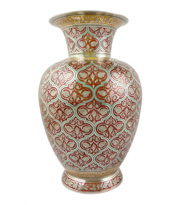 Handicraft Jar Flower Vase Brass Enameled  Black 10 Inch