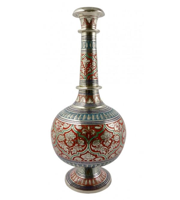 Handicraft Surai Flower Vase Brass Enameled  Black 12 Inch