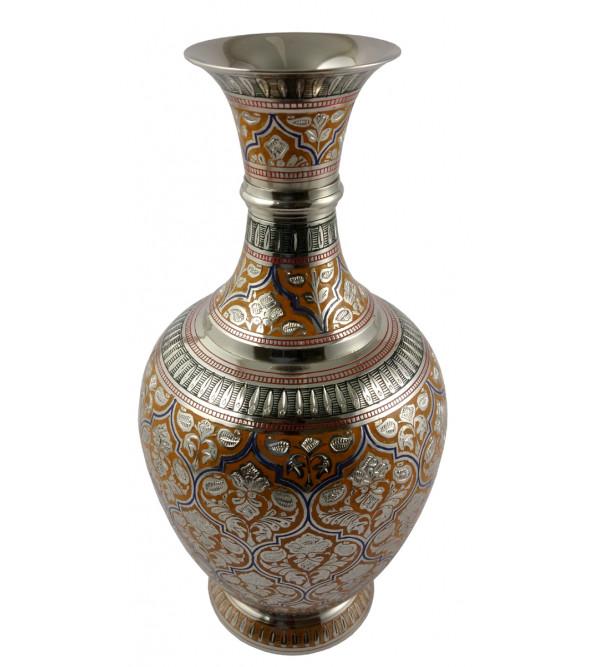 Handicraft Surai Flower Vase Brass Enameled  Black 11.5 Inch