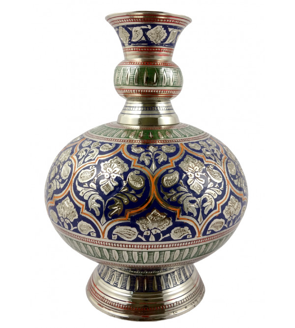 Handicraft Surai Flower Vase Brass Enameled  Black 6 Inch