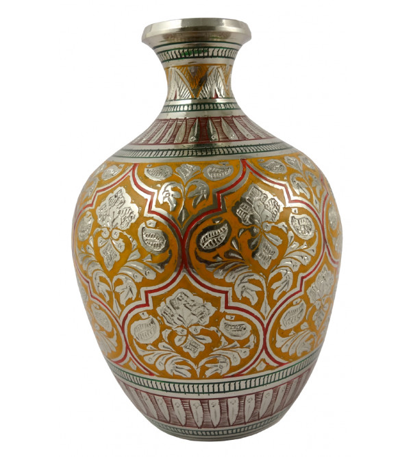 Handicraft Gangajali Kalash Flower Vase Brass Enameled  Black 5.5 Inch