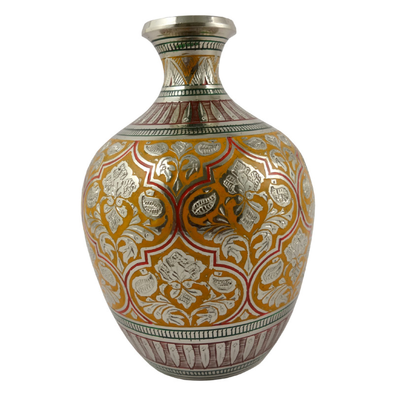 Handicraft Gangajali Kalash Flower Vase Brass Enameled  Black 5.5 Inch