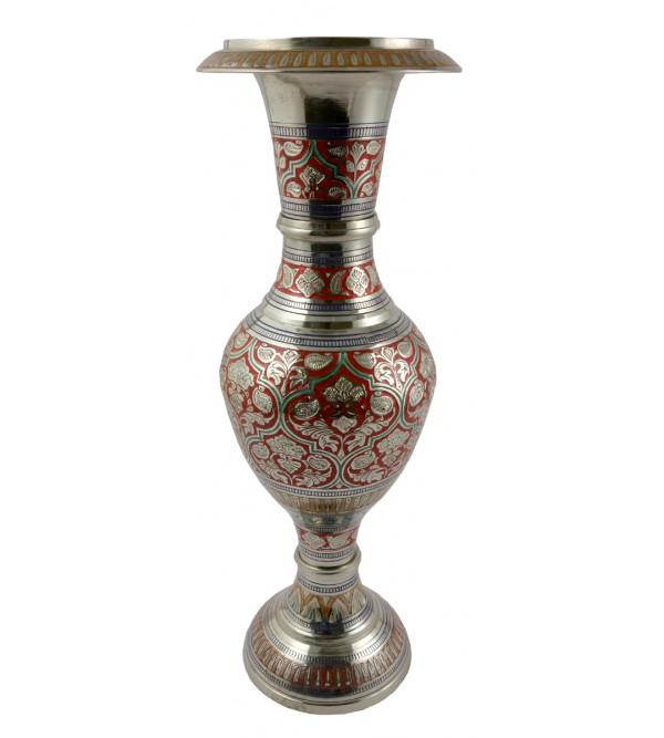 Handicraft Flower Vase Brass Enameled  Black 12 Inch
