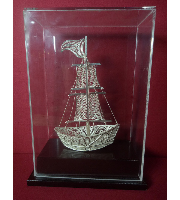 Filigree Silver Handcrafted One Flag Boat
