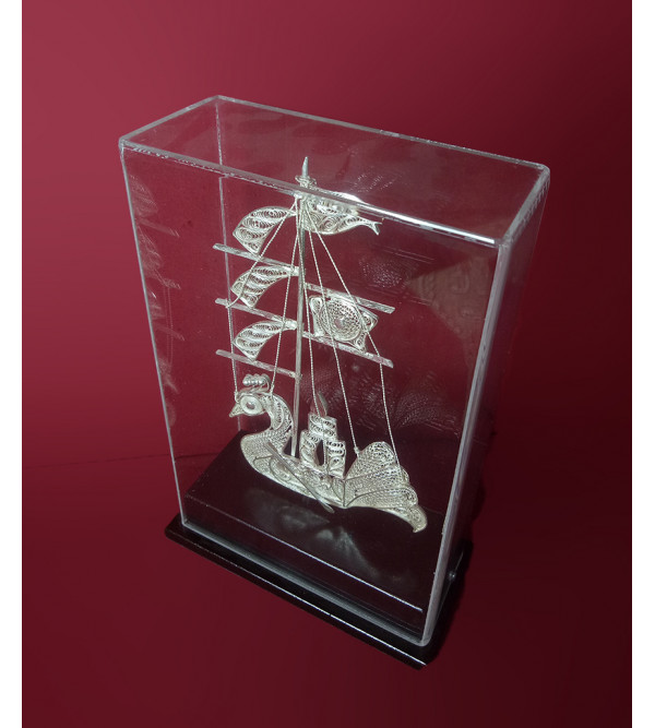 Silver Filigree ship packed in Acrylic Case 85%purity Size 8x5inch (with acrylic)