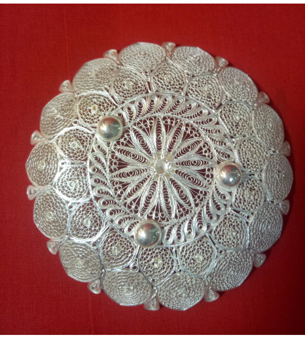 Filigree Silver Handcrafted Round Plate