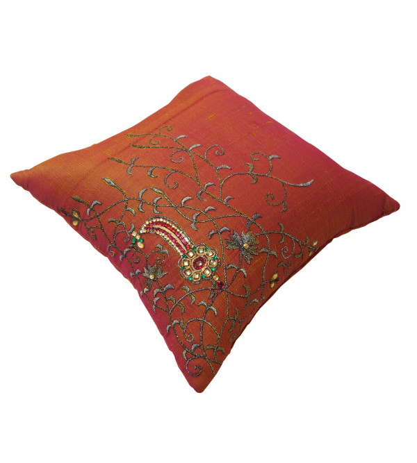 HANDICRAFT CUSHION COVER ZARI BROCADE WITH FILLER  12X12 INCH