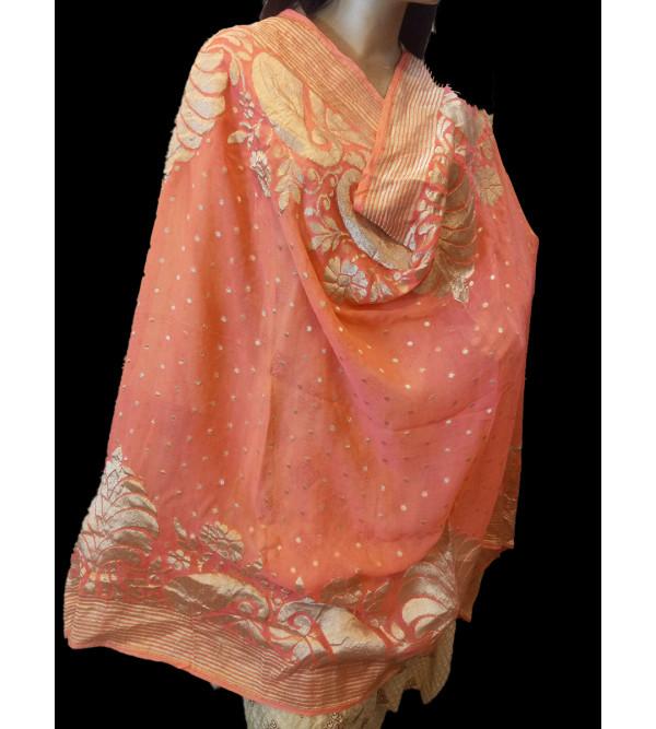 Zari Katan Silk Handwoven Dupatta From Banaras