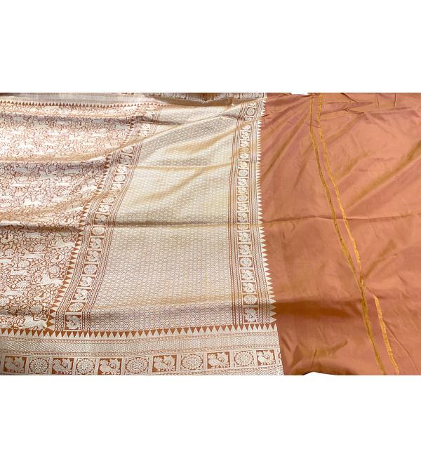 Katan Silk Handloom Banaras Shikargaha Zari Saree with Blouse