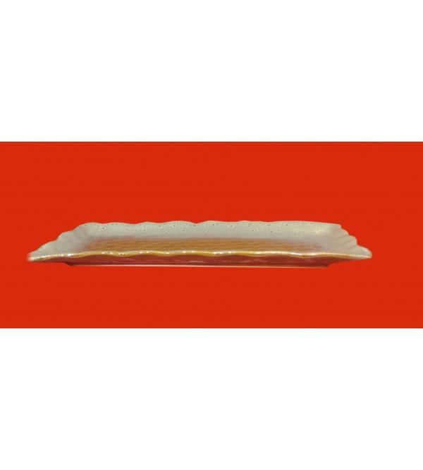 Khurja Pottery Rectangular Tray Size 5.5x11 Inch