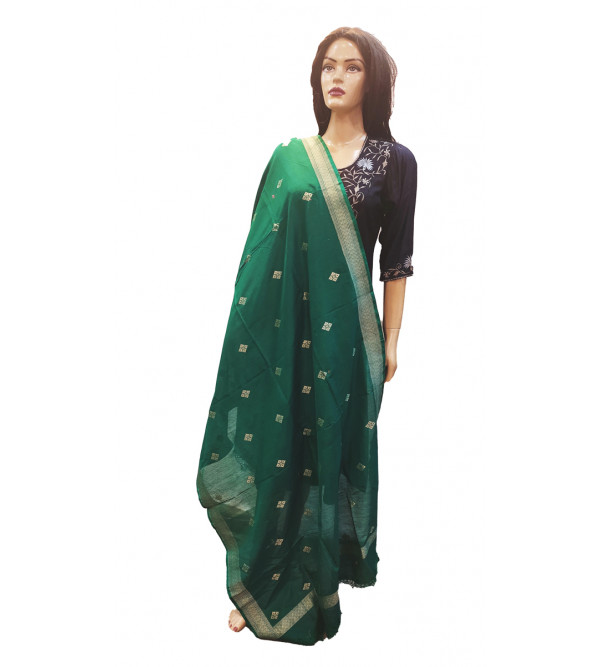 Handwoven Zari Katan Silk Dupatta From Banaras