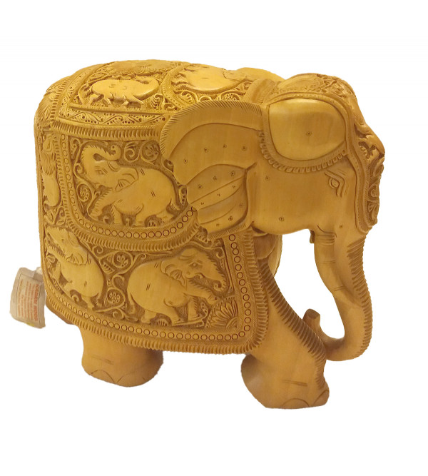 ELEPHANT CARVED SUPER FINE KADAM WOOD 9 inch