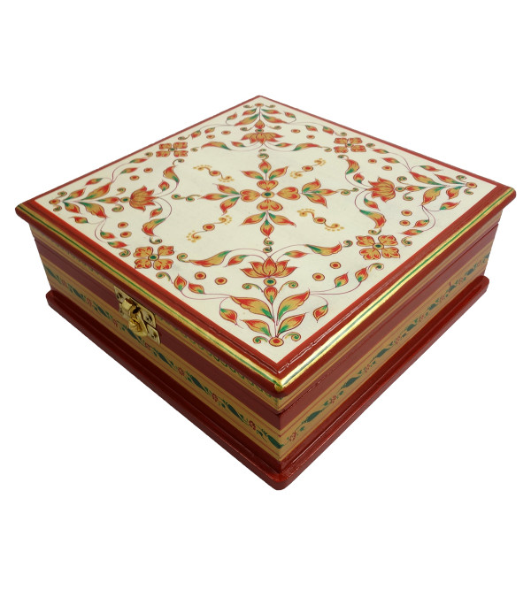Handicraft Painted Wood Box Jaipur Style 8x8x3 Inch