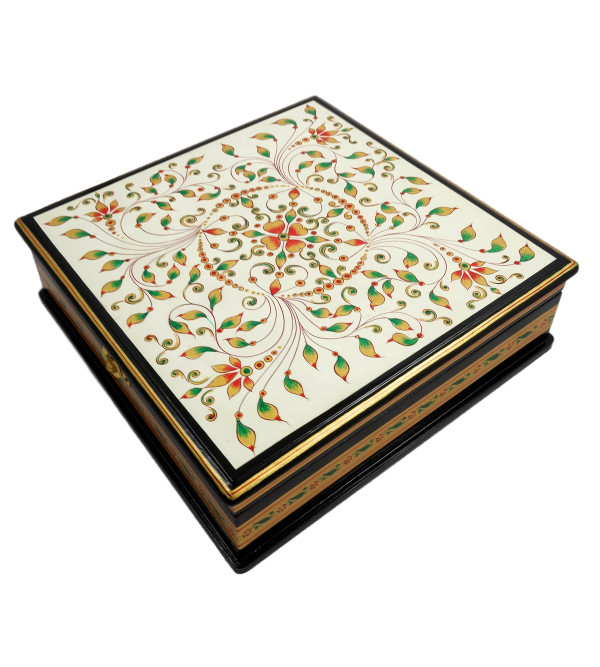 Handicraft Painted Wood Box Jaipur Style 10x10x3 INCH