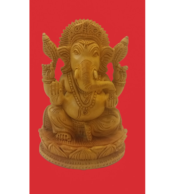 GOD FIGURE SITTING FINE CARVED KADAM WOOD GANESH 6 INCH