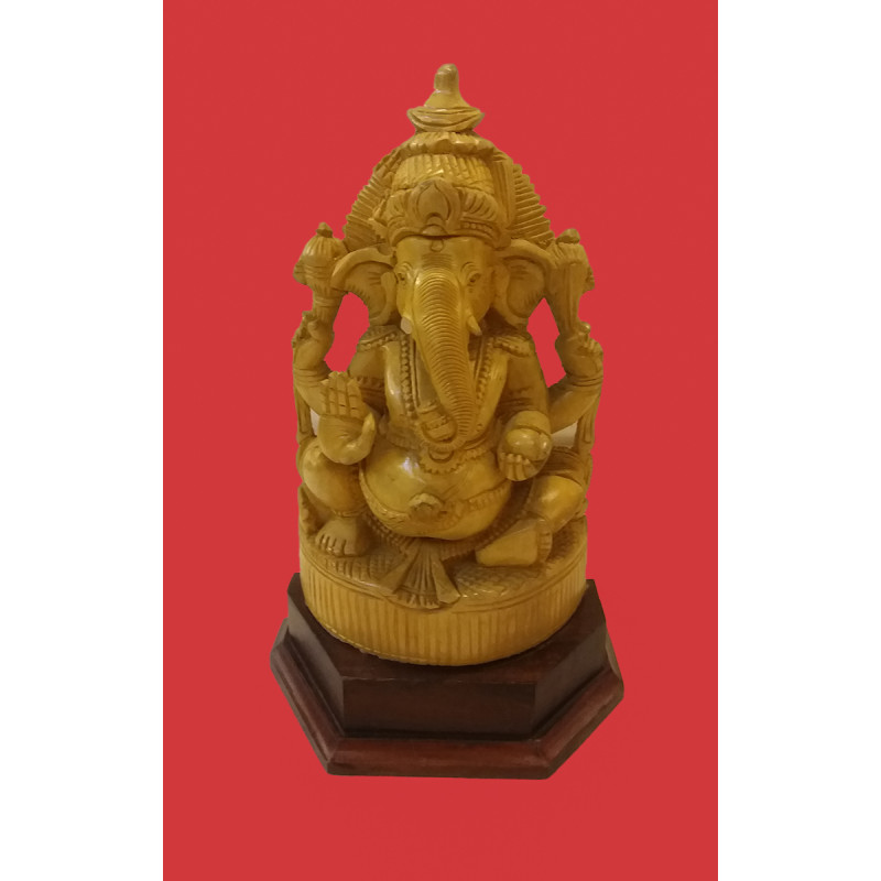 White Wood Handcrafted Carved Ganesha