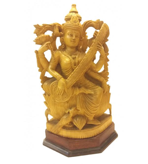 Kadamba Wood Handcrafted Carved Sitting Figure of Goddess Saraswati