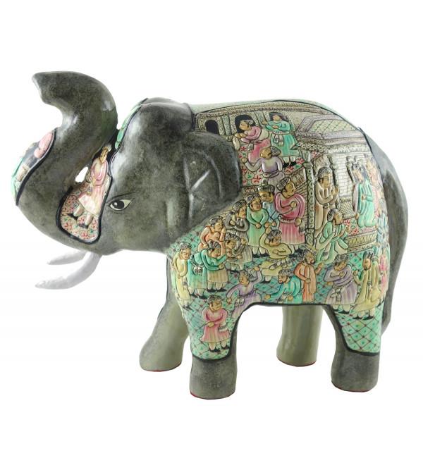 PAPER MACHE ELEPHANT MUGHAL DESIGN 8 INCH