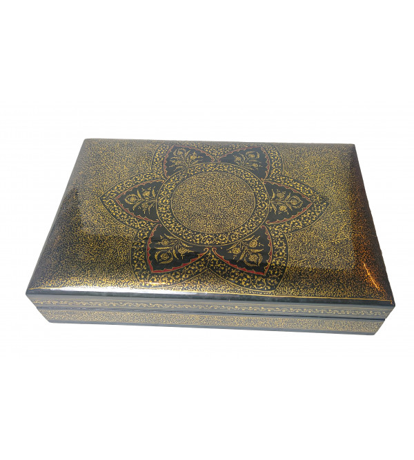 Hand crafted Papier Mache Flat Box with Real Gold Work