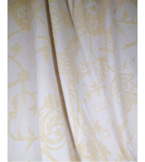 Cotton Crewel Hand Embroidary Fabric 54 Inch Width