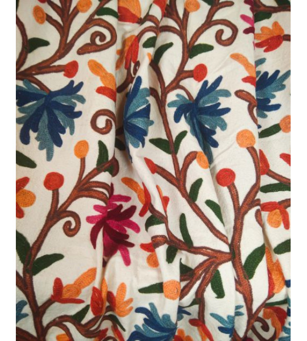 Cotton Crewel Hand Embroidary Multi Fabric 54 Inch Width