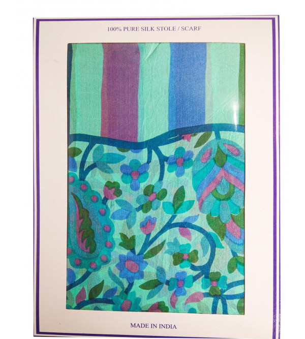 PRINTED STOLE 20X70 INCH PURE SILK WT-20-22GM