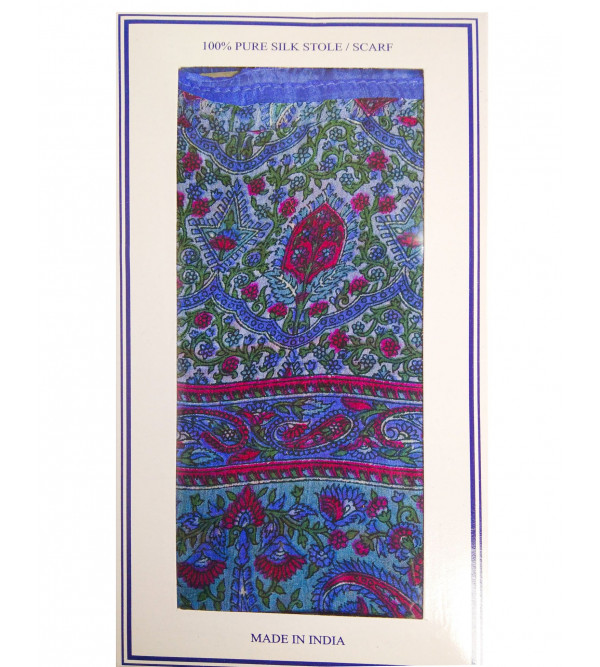 PRINTED STOLE 26X70 PURE SILK WT-28-30GM