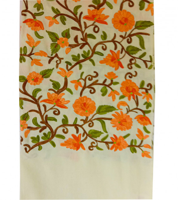Stole Pure Ruffle Jaal Hand Emb Work 28X80 Inch All Over Hand Work