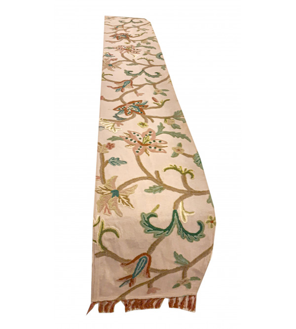 Crewel Hand Embroidered Runner From Kashmir Size 13x120 Inch