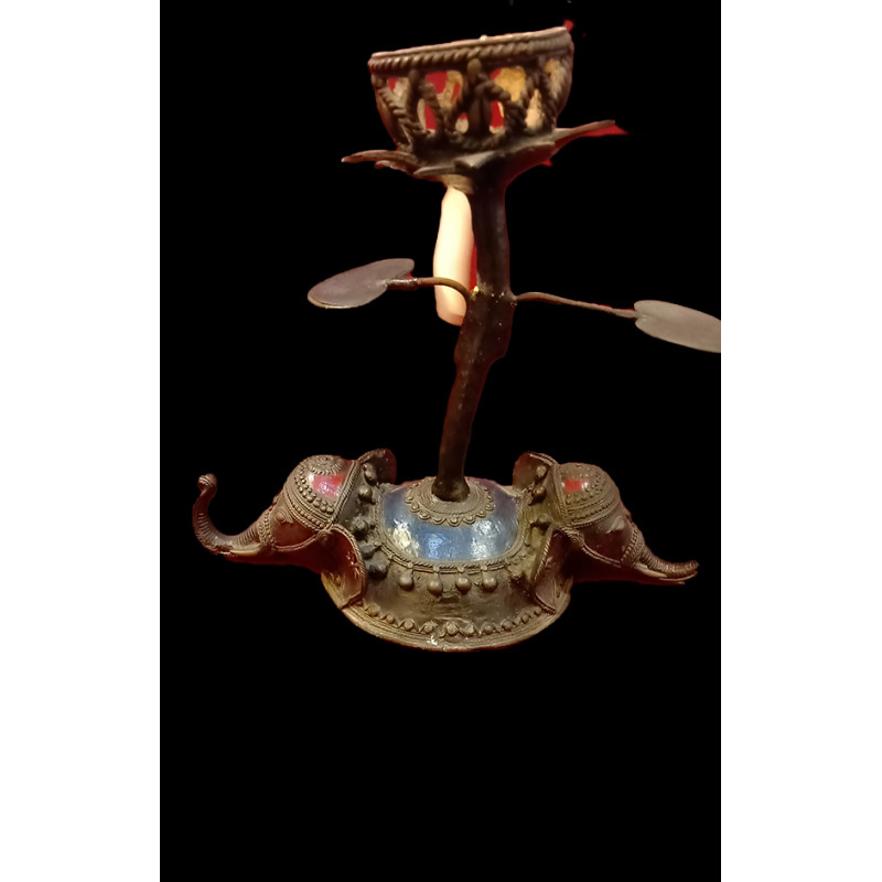 Candle Stand Handcrafted In Dhokra Size 11 Inches