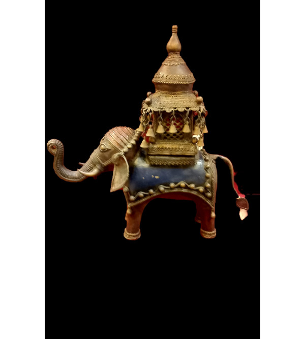 Elephant With TempleDhokra  16 inch