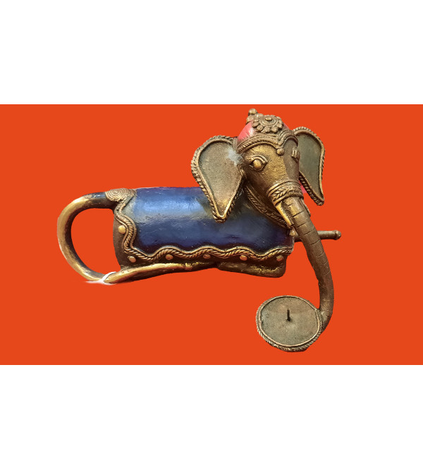 Dhokra Handcrafted Elephant Candle Stand  Size 8X4 Inches