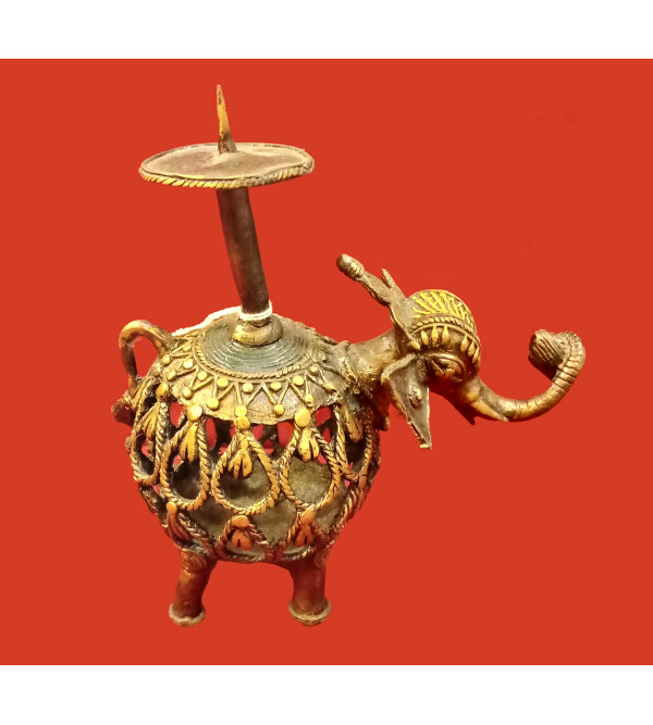 Candle Stand Handcrafted In Dhokra Size 9 Inches
