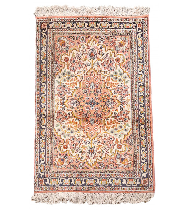 Kashmir Carpet Hand-knotted Silk x Cotton Size 2ftx3ft