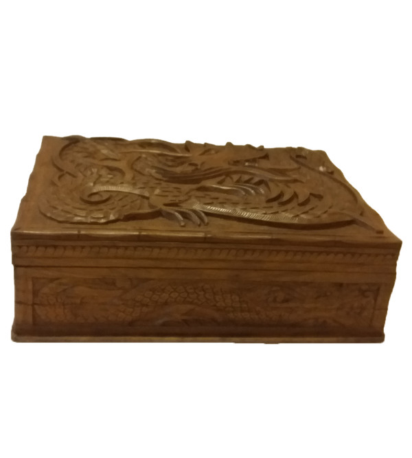 BOX walnut carved 13x9.5 inch