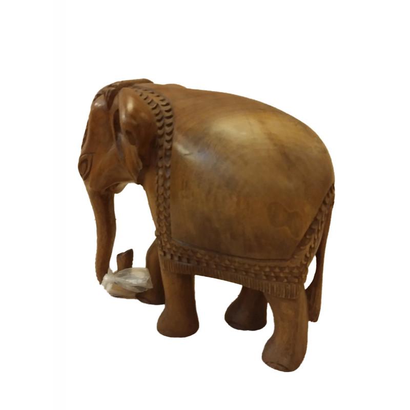 Walnut Wood Handcrafted Carved Elephant