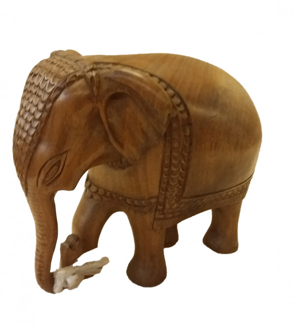 Walnut Wood Handcrafted Carved Elephant