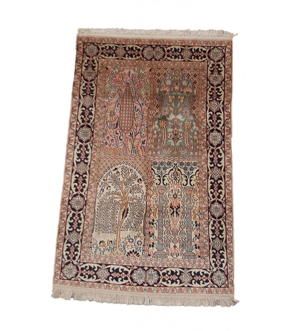 Kashmir Carpet Hand-knotted Silk - Cotton Size 2.5ftx4ft