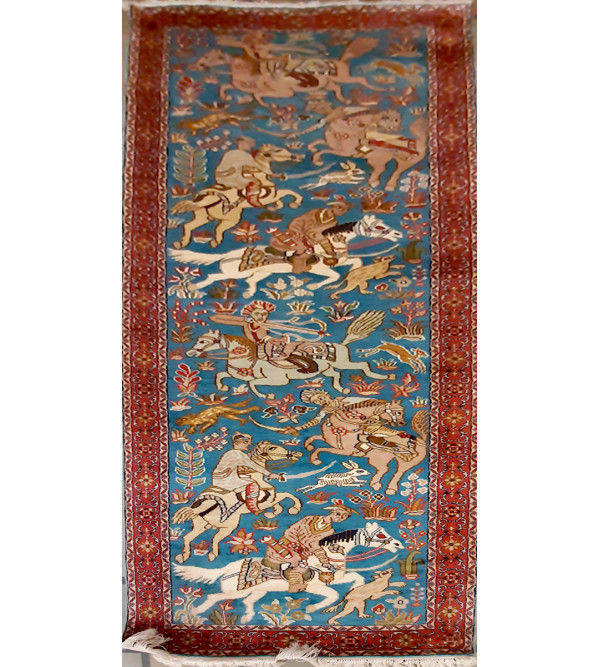 Kashmir Carpet Hand-knotted Silk x Cotton Size 2.5ftx8ft