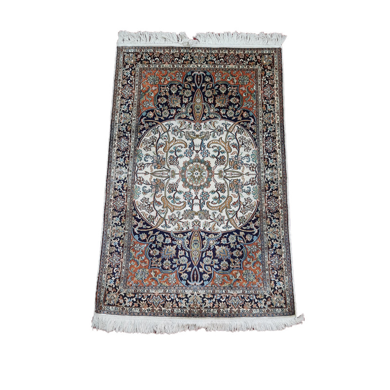 Kashmir Carpet Hand-knotted Silk x Silk Size 2.5ftx4ft