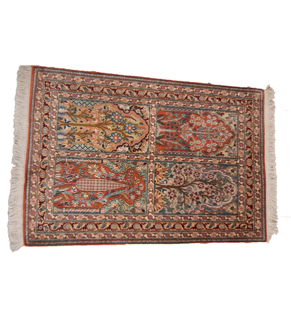 Kashmir Carpet Hand-knotted Silk x Cotton Size 2.5ftx4ft