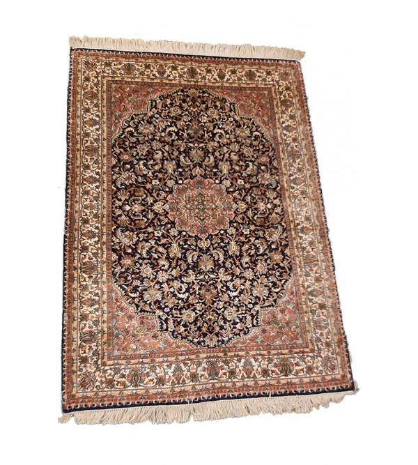 Kashmir Carpet Hand-knotted Silk x Cotton Size 4ftx6ft