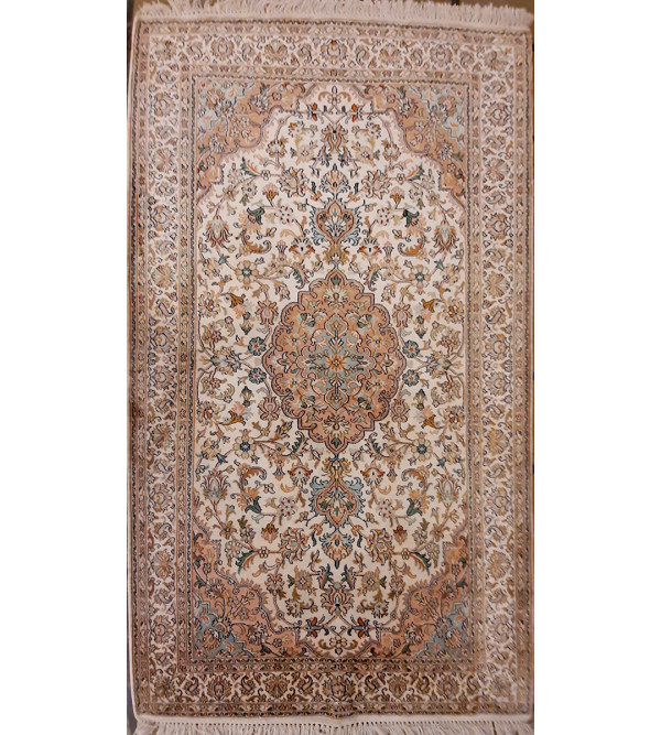 Kashmir Carpet Hand-knotted Silk x Cotton Size 3ftx5ft