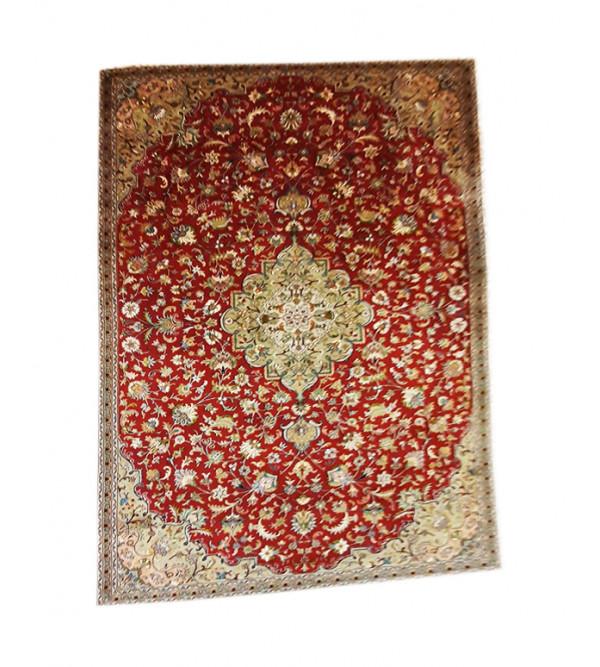 Kashmir Carpet Hand-knotted Silk x Cotton Size 7ftx10ft